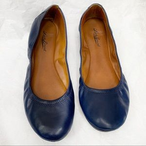 Lucky Brand Emmie Navy Blue Leather Ballet Flat 9M